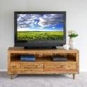 Meuble TV Bas Rangement Bois 160x40x68cm