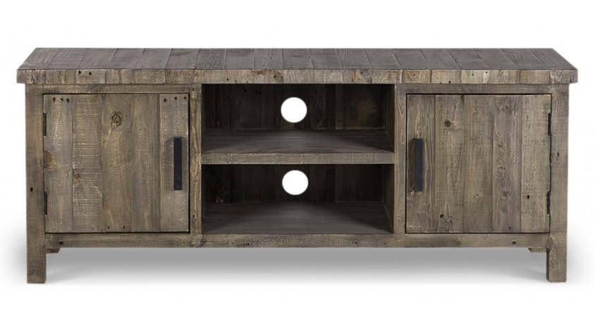 Meuble TV Bas Rangement Bois 150x40x61cm