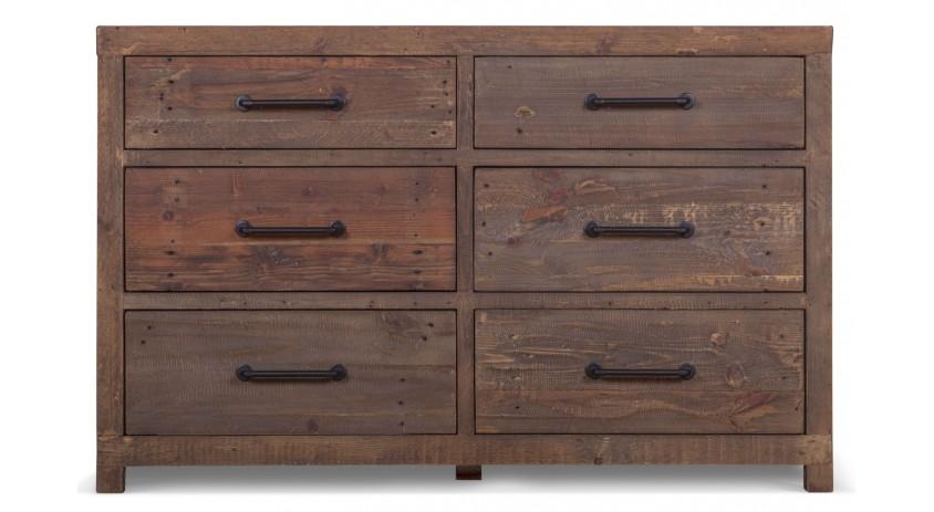 meuble bas rangement commode 6 tiroirs 135x45x85cm. Black Bedroom Furniture Sets. Home Design Ideas