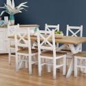 Table Rectangulaire Bois Blanc Césuré 180x90x77cm