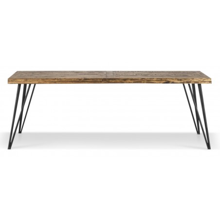 Table Rectangulaire Bois Fer Forgé Marron 220x90x80cm