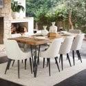 Table Rectangulaire Bois Fer Forgé Marron 220x90x80cm