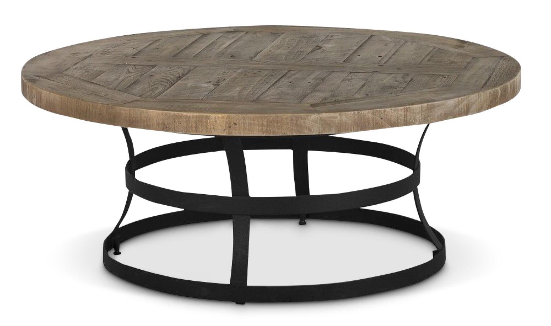 Table Basse Ronde Bois Marron 100x100x40 5cm
