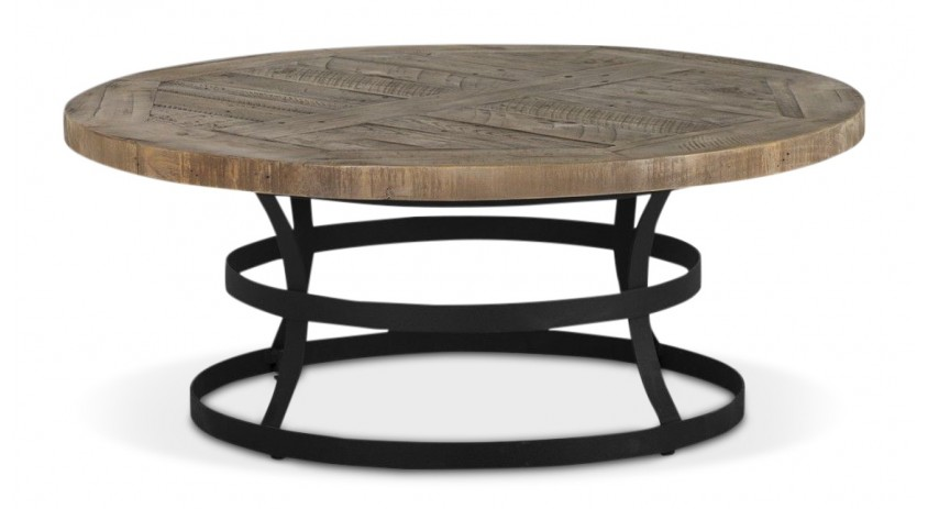Table Basse Ronde Bois Marron 100x100x77cm