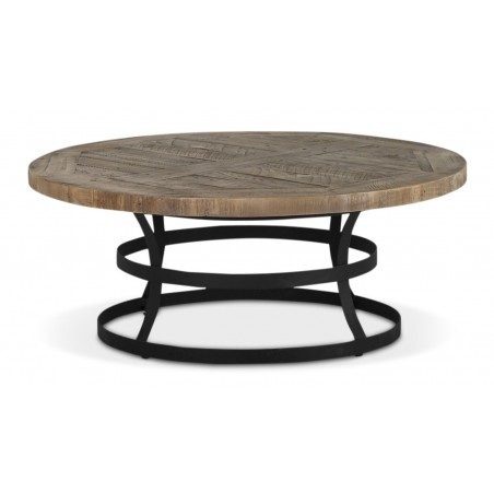 Table Basse Ronde Bois Marron 100x100x40.5cm