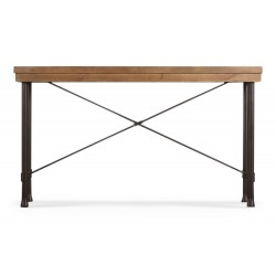 Table Rectangulaire Bois Fer Forgé Marron 210x90x78.5cm