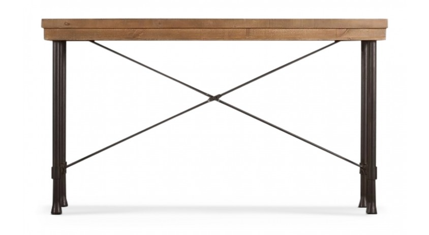 Table Rectangulaire Bois Fer Forgé Marron 210x90x79.5cm