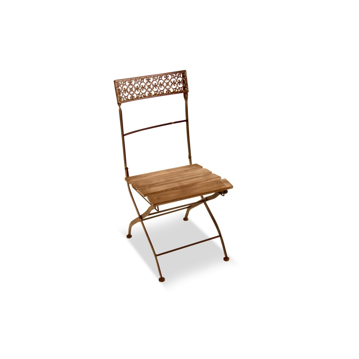 Chaise Bois Fer Forgé Marron 40x50.5x92.5cm