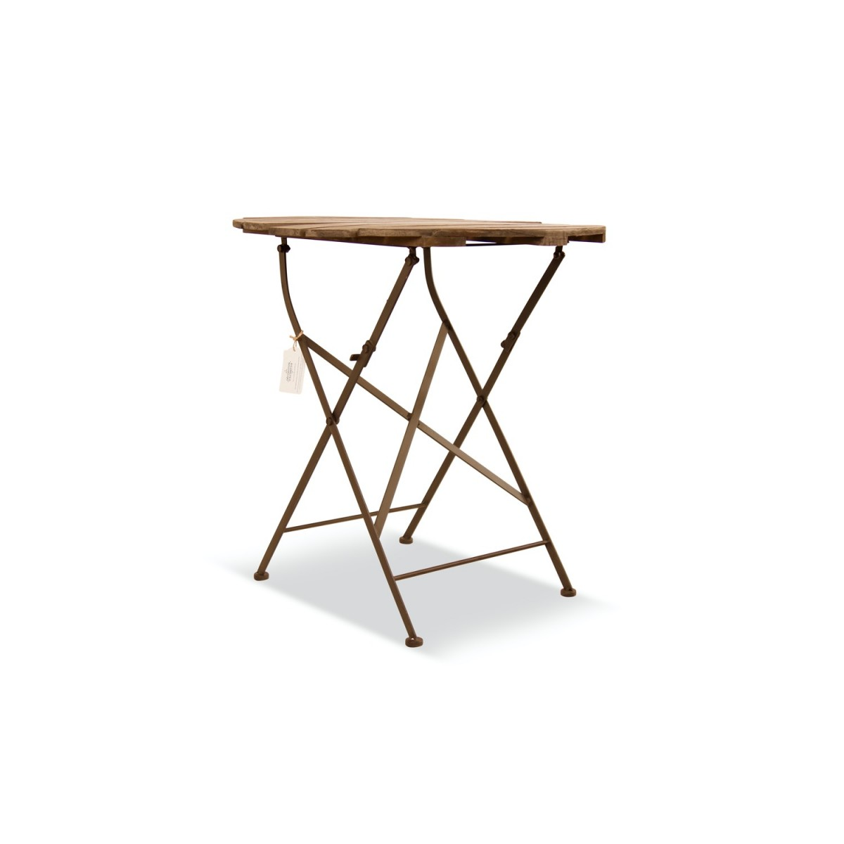 Table Ronde Bois Fer Forgé Marron 70x70x73cm