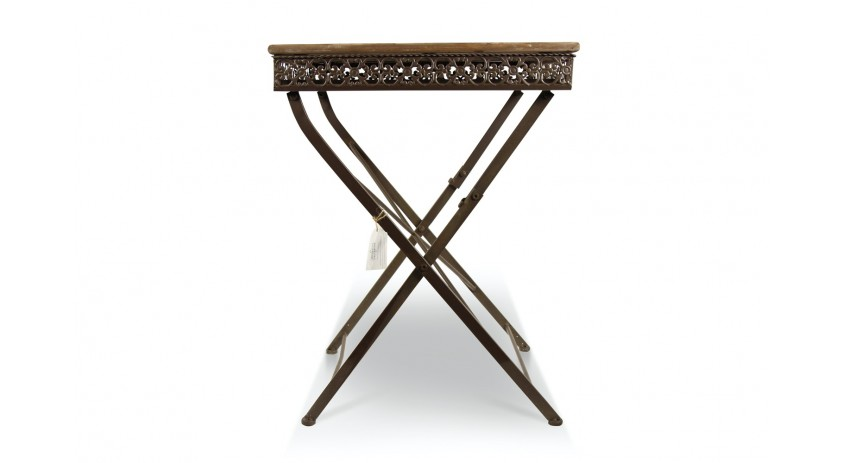 Table Carré Bois Fer Forgé Marron 61x61x81.5cm