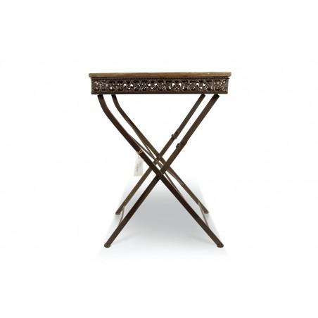 Table Carré Bois Fer Forgé Marron 61x61x81.5cm