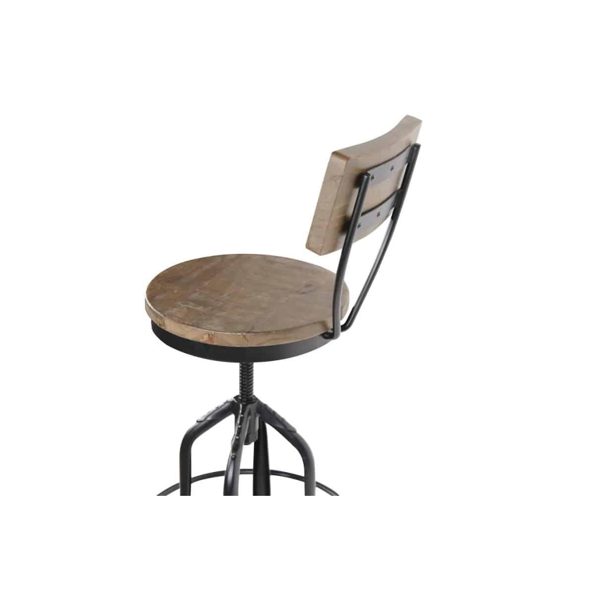 Chaise Haute Tabouret Bois Fer Forgé 40.5x40.5x102cm
