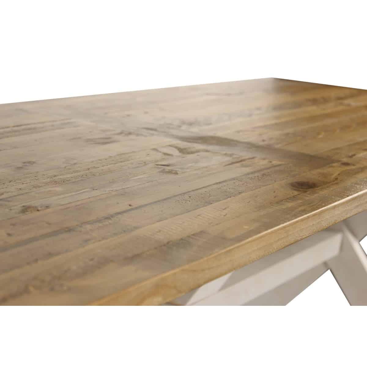 Table Rectangulaire Bois Blanc Césuré 234x93.5x79cm