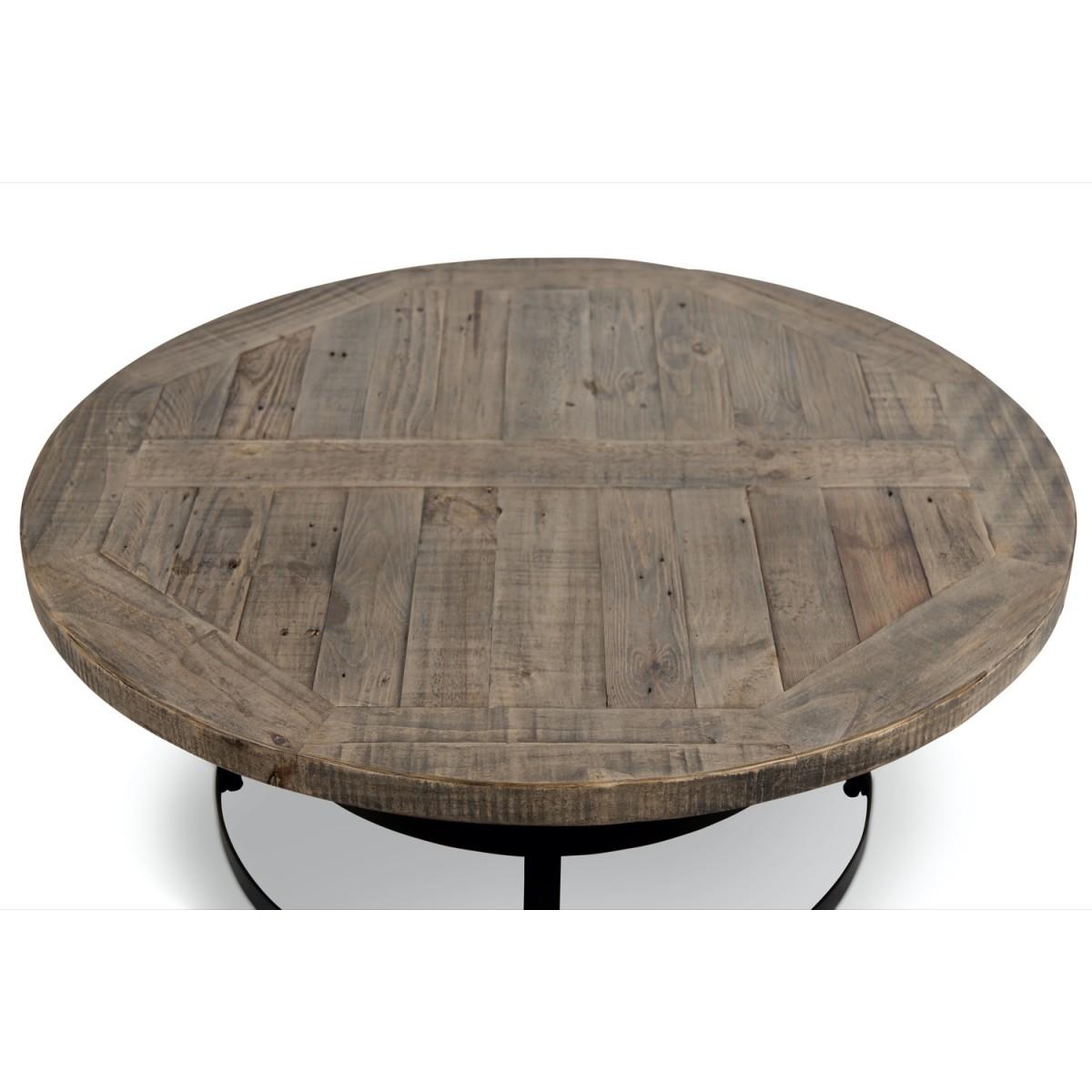 Table Basse Ronde Bois Marron 100x100x40.5cm