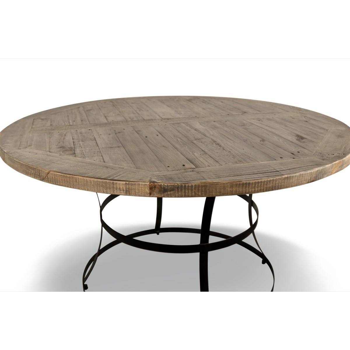 Table Ronde Bois Marron 140x140x75cm