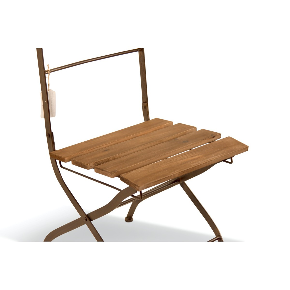 Chaise Bois Fer Forgé Marron 40x50.5x93.5cm