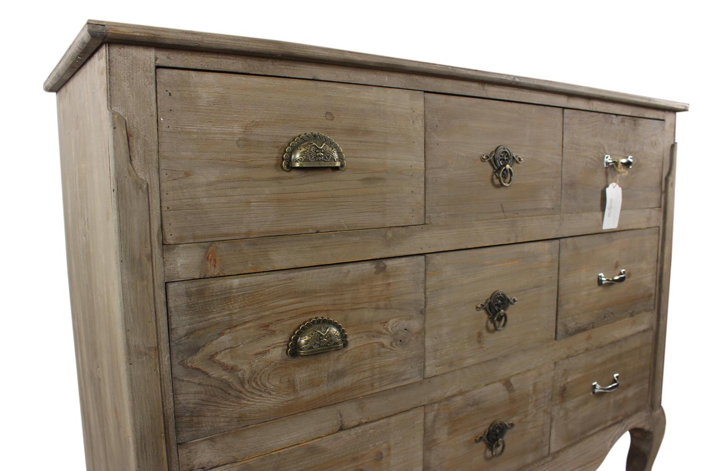 meuble bas rangement bois 9 tiroirs 121x40x94cm