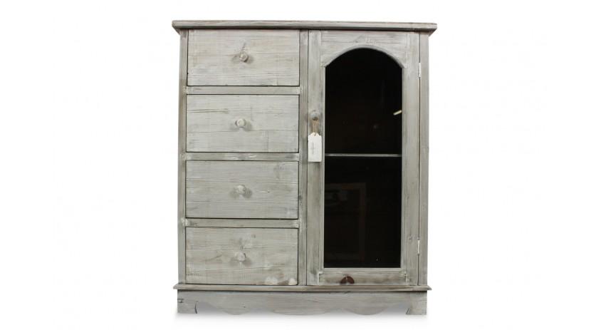 meuble bas rangement bois cerus blanc 4 tiroirs 80x40x90cm. Black Bedroom Furniture Sets. Home Design Ideas