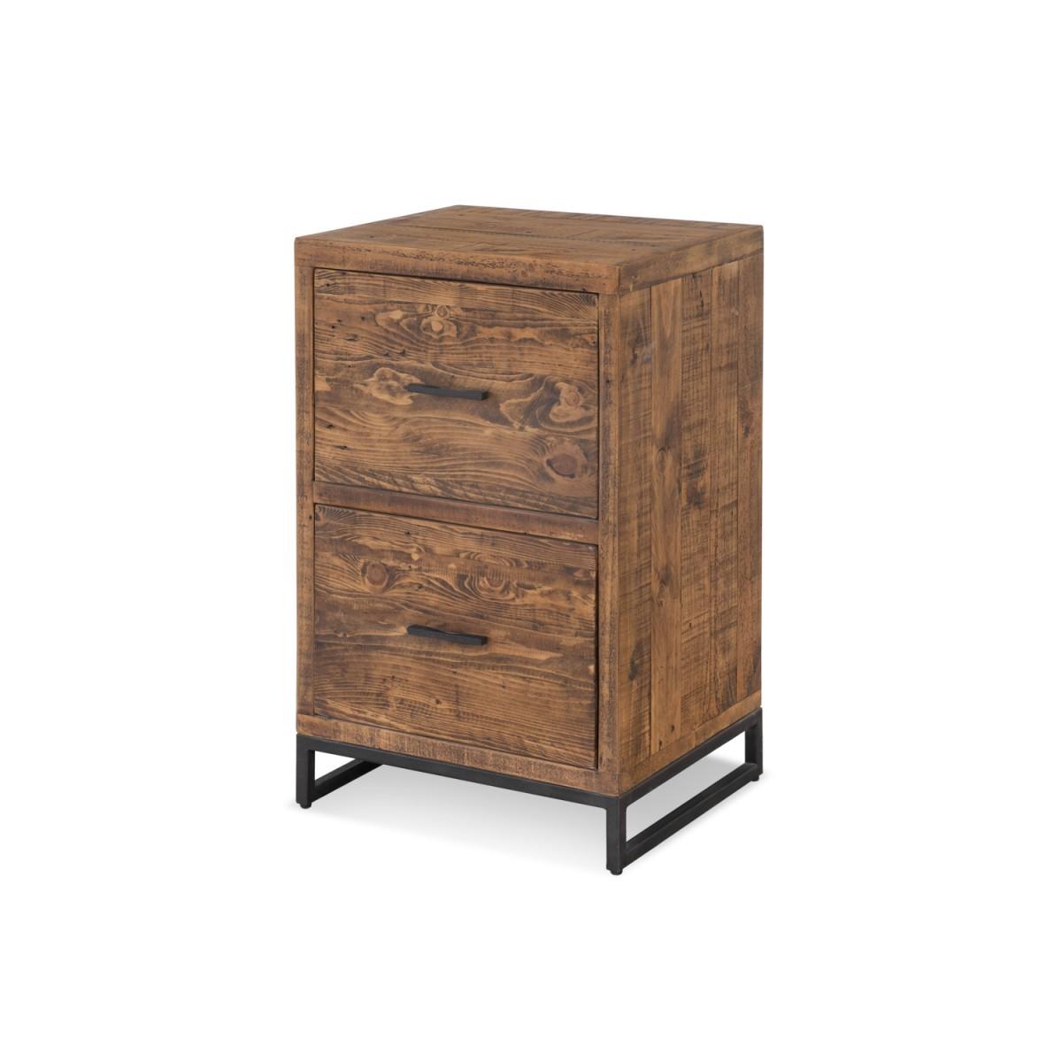 Table de chevet 2 Tiroirs Bois Métal Marron 50x42x81cm