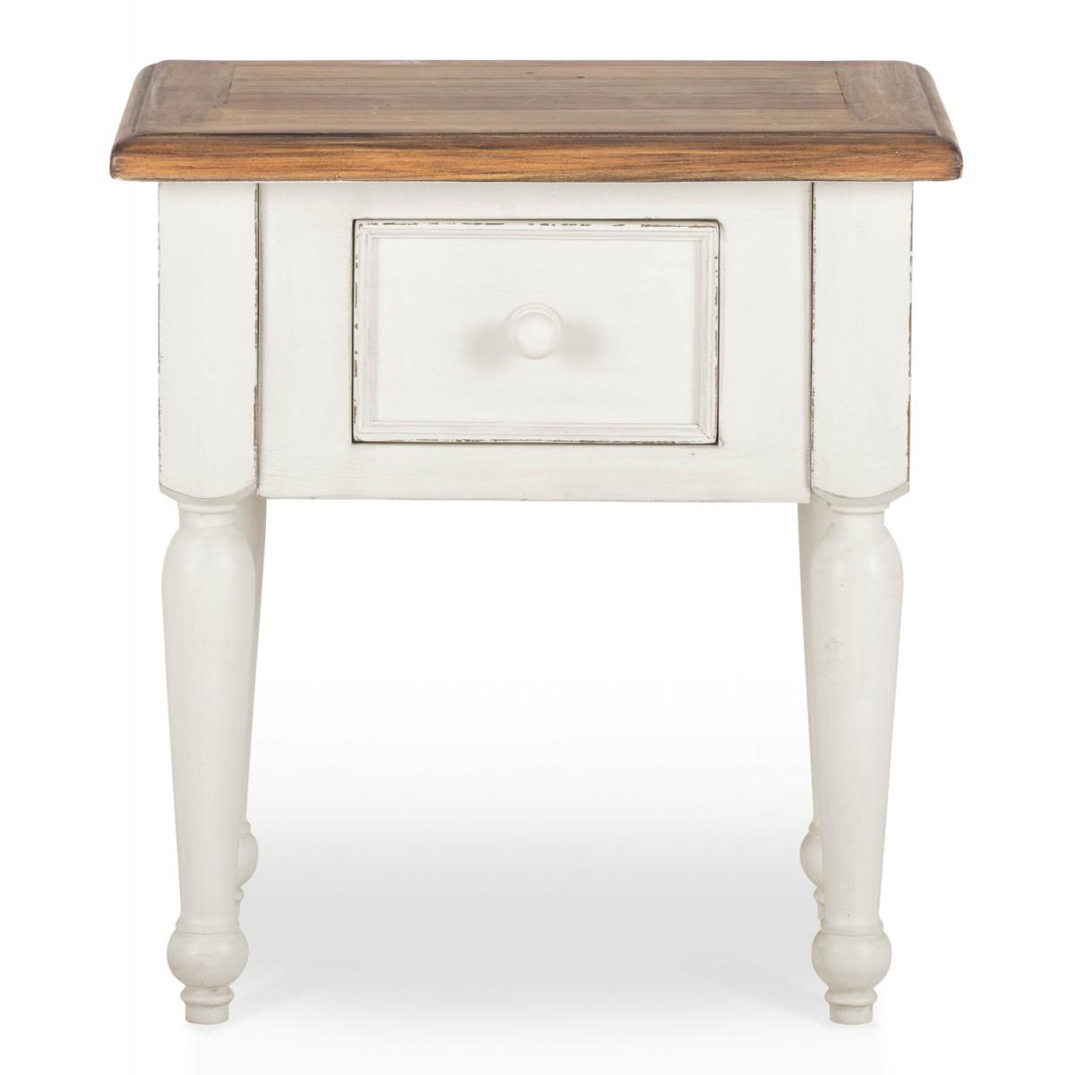Table de chevet 1 Tiroir Bois Blanc 55x40x60cm
