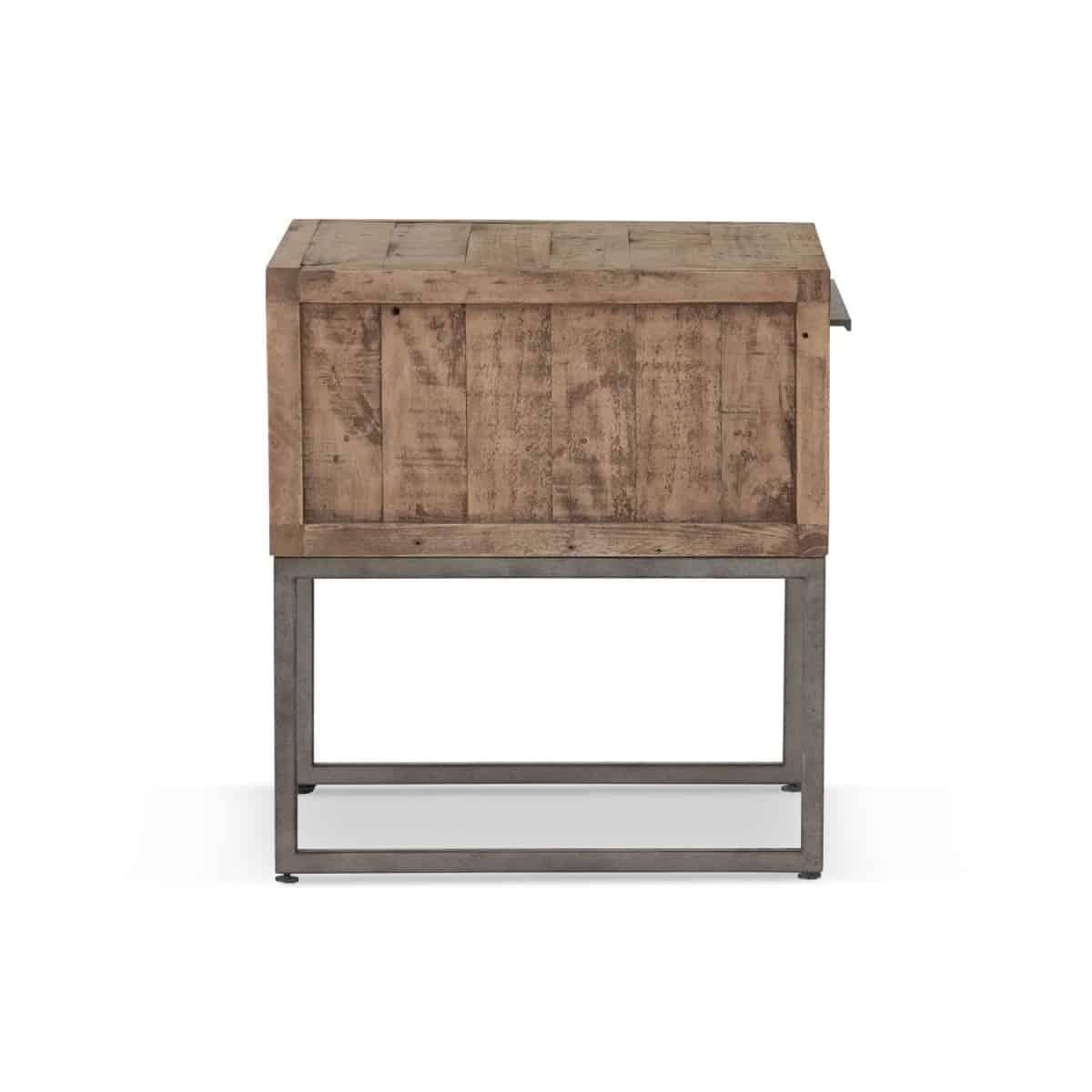 Table de chevet 1 Tiroir Bois Métal Marron 50x50x55cm