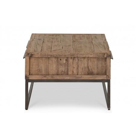 Table basse 2 Tiroirs Bois Métal Marron 120x60x40cm