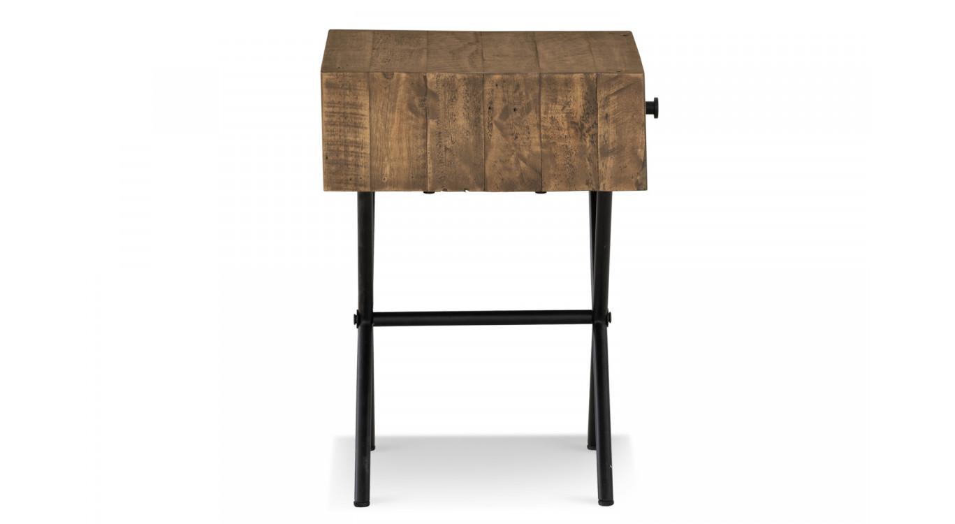 Table de chevet 1 Tiroir Bois Métal Marron 50x40x55cm