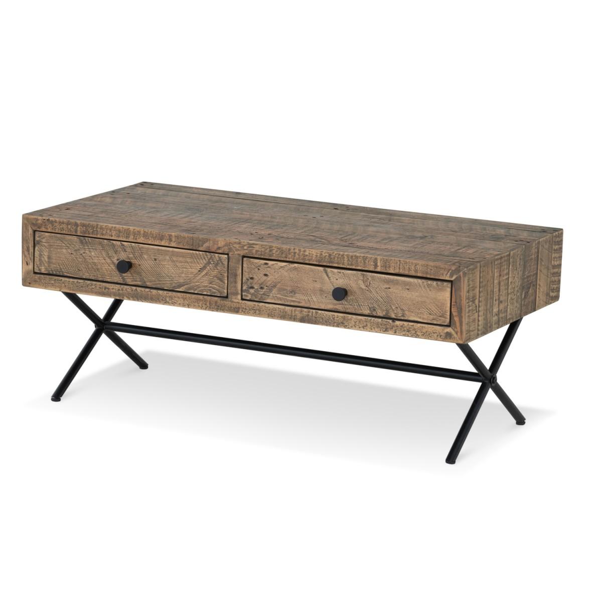 Table basse 2 Tiroirs Bois Métal Marron 100x50x40cm