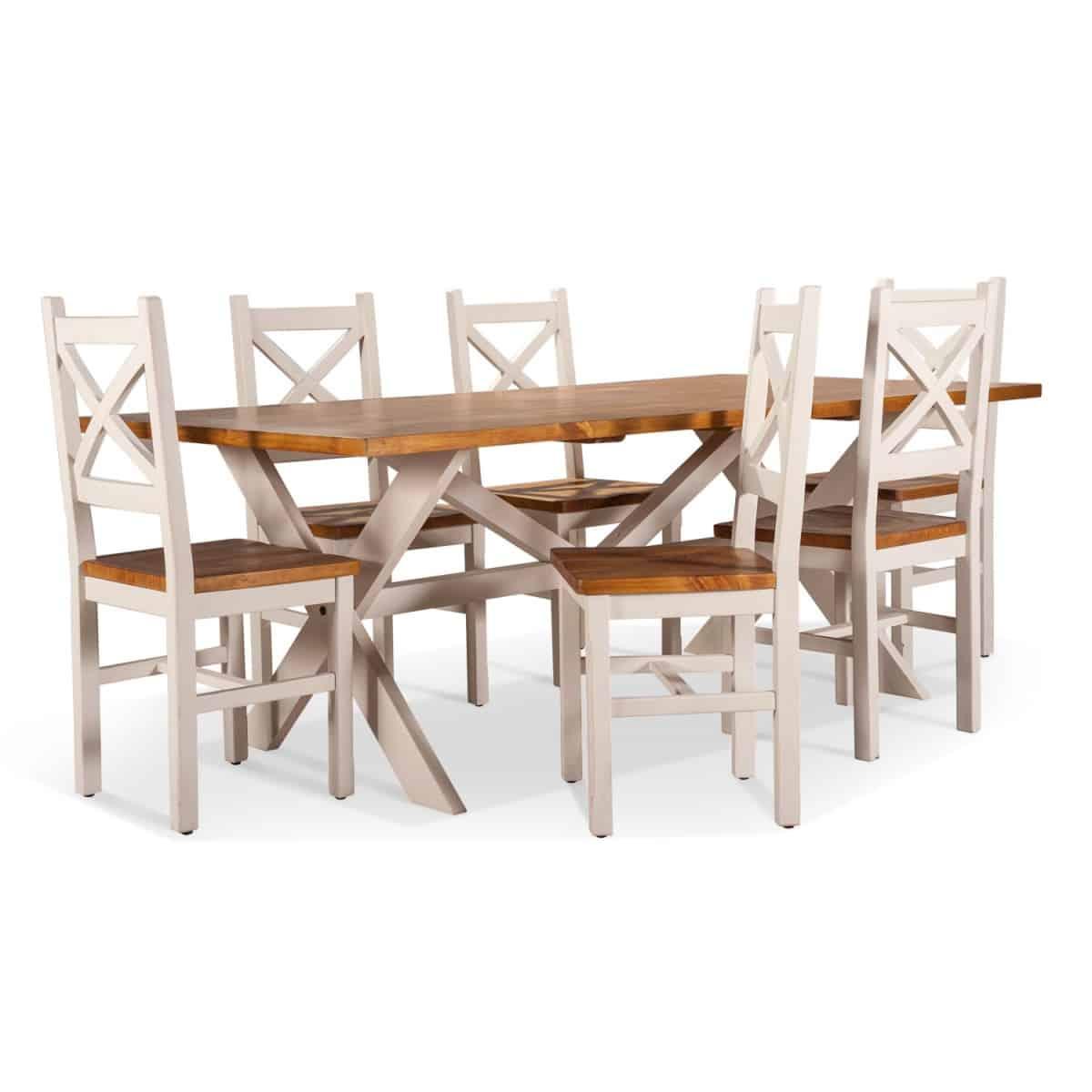 Table à manger Bois Blanc 210x105x77cm