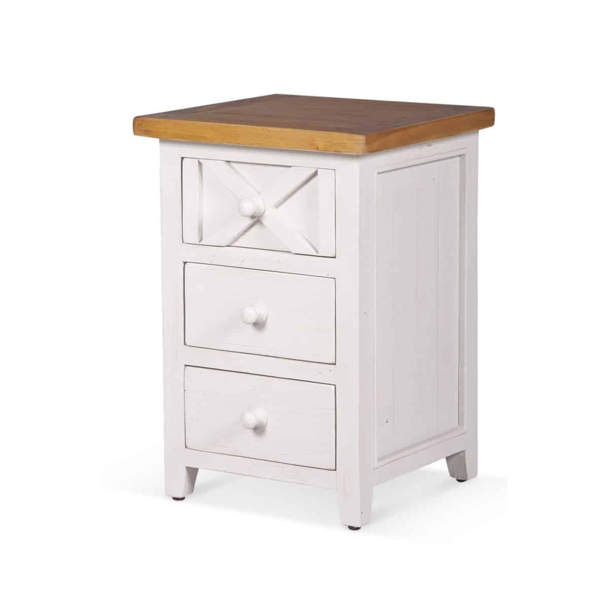 Table de chevet 3 Tiroirs Bois Blanc 45x43x65cm