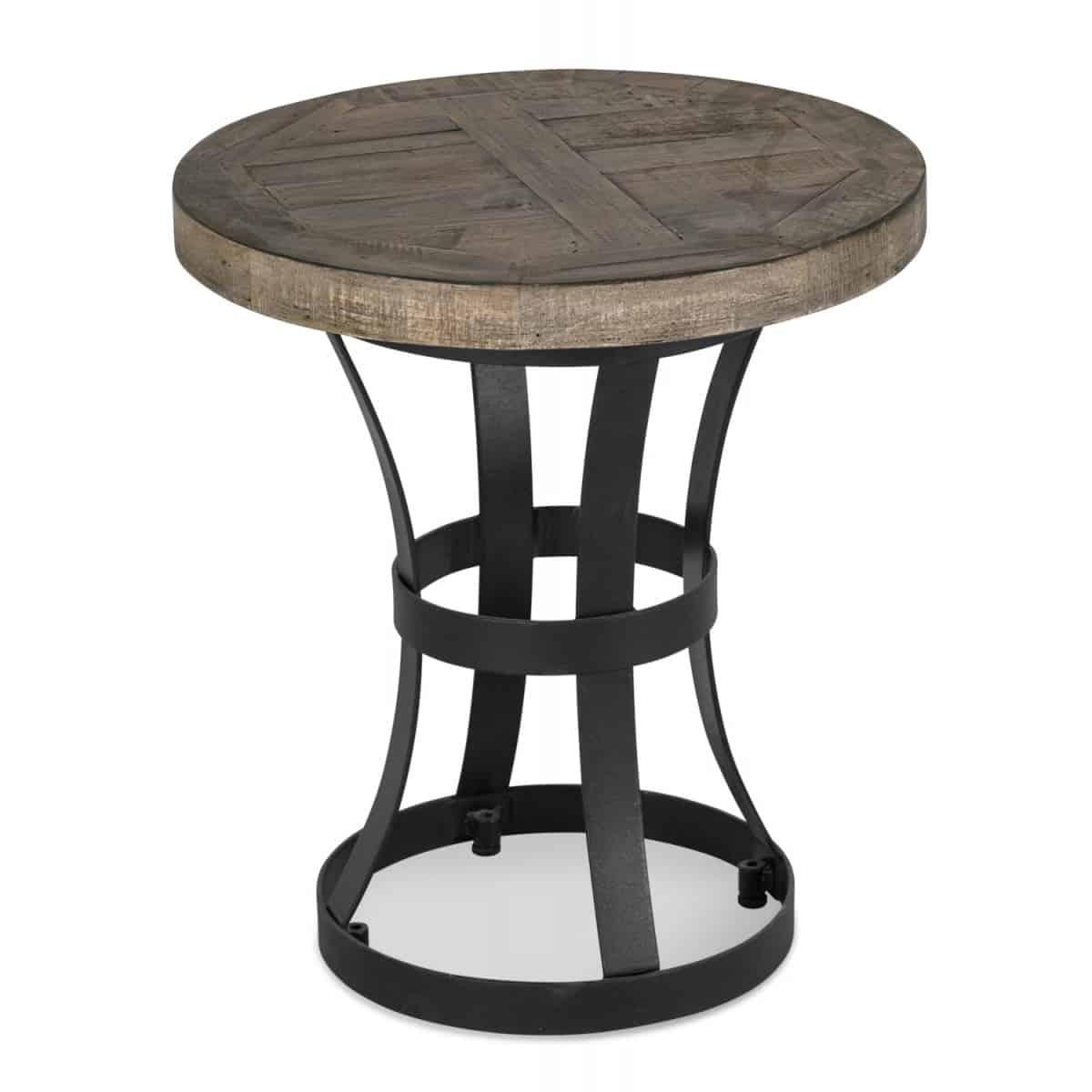 Table de chevet Bois Métal Marron 45x45x50cm