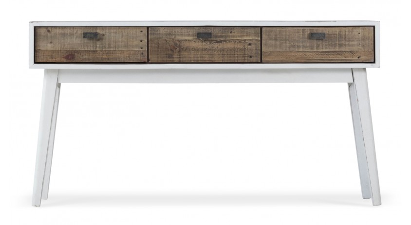 Console 3 Tiroirs Bois Blanc 140x35x75cm