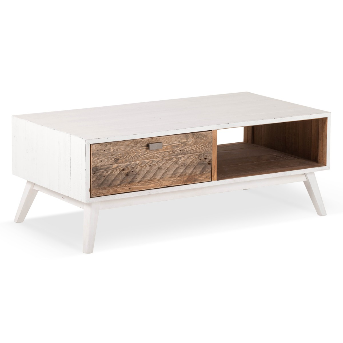 Table basse 1 Tiroir Bois Blanc 120x60x45cm