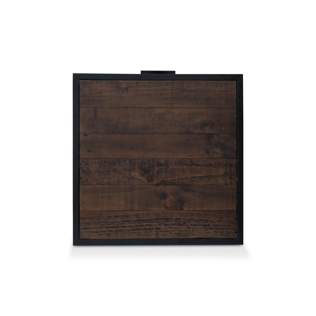 Table de chevet 1 Tiroir Bois Métal Marron 55x55x55cm