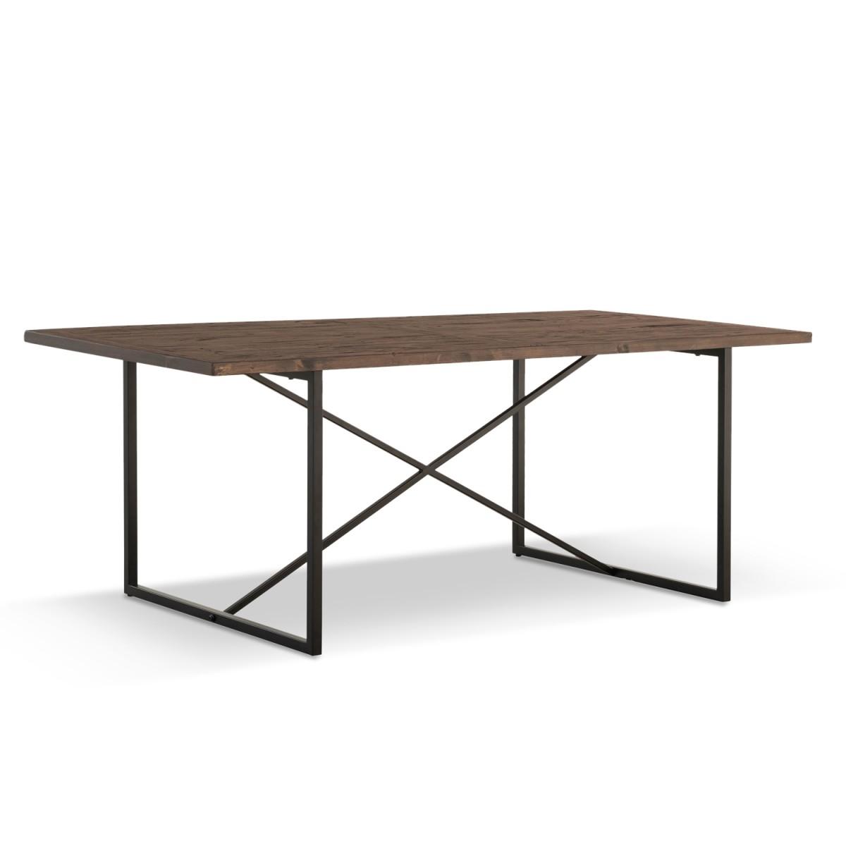 Table à manger Bois Métal Marron 200x100x76cm