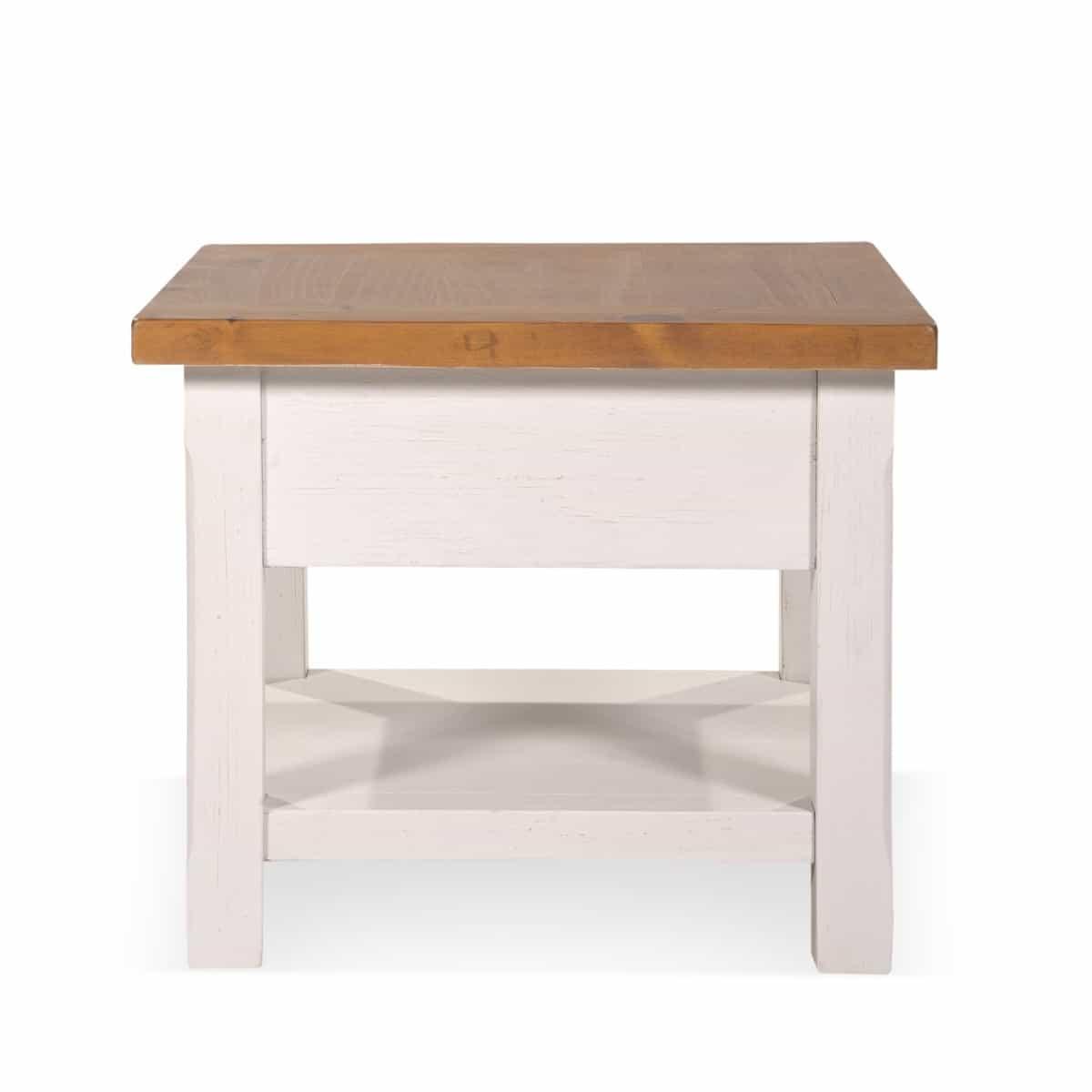 Table de chevet 1 Tiroir Bois Blanc 60x60x50cm