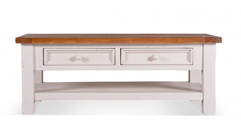 Table basse 2 Tiroirs Bois Blanc 120x65x45cm