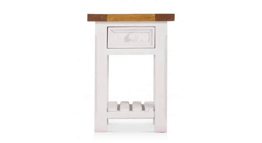 Table de chevet 1 Tiroir Bois Blanc 40x40x55cm