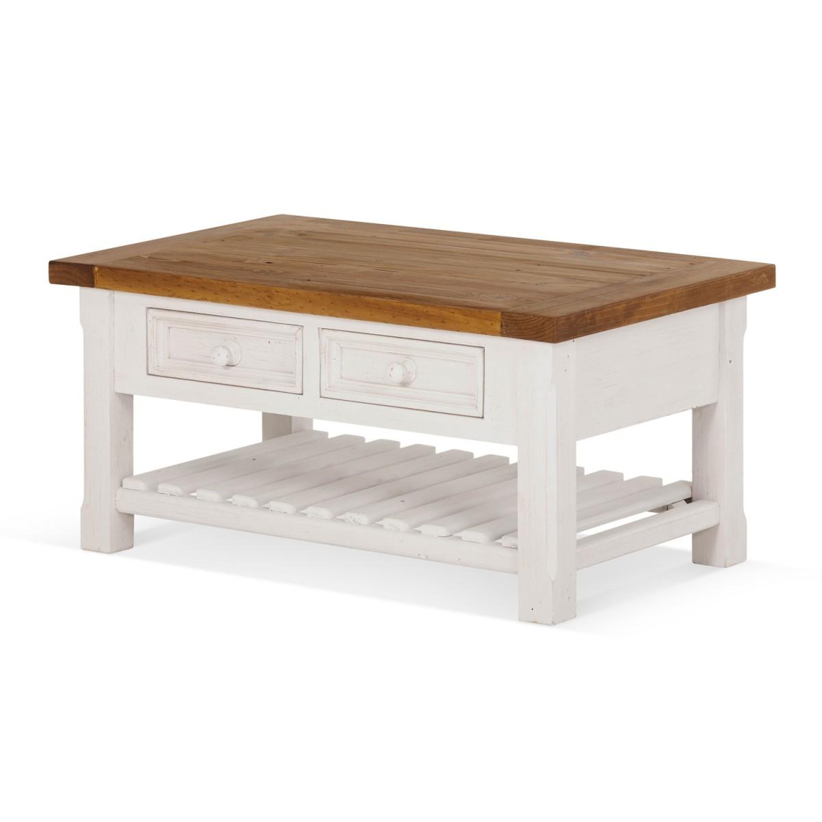 Table basse 2 Tiroirs Bois Blanc 90x55x43cm