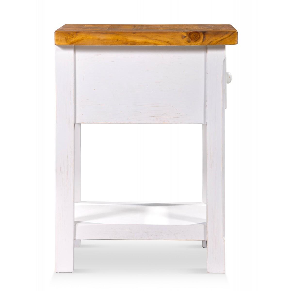 Table de chevet Bois Blanc 50x45x60cm