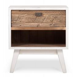 Table de chevet 1 Tiroir Bois Blanc 50x40x55cm