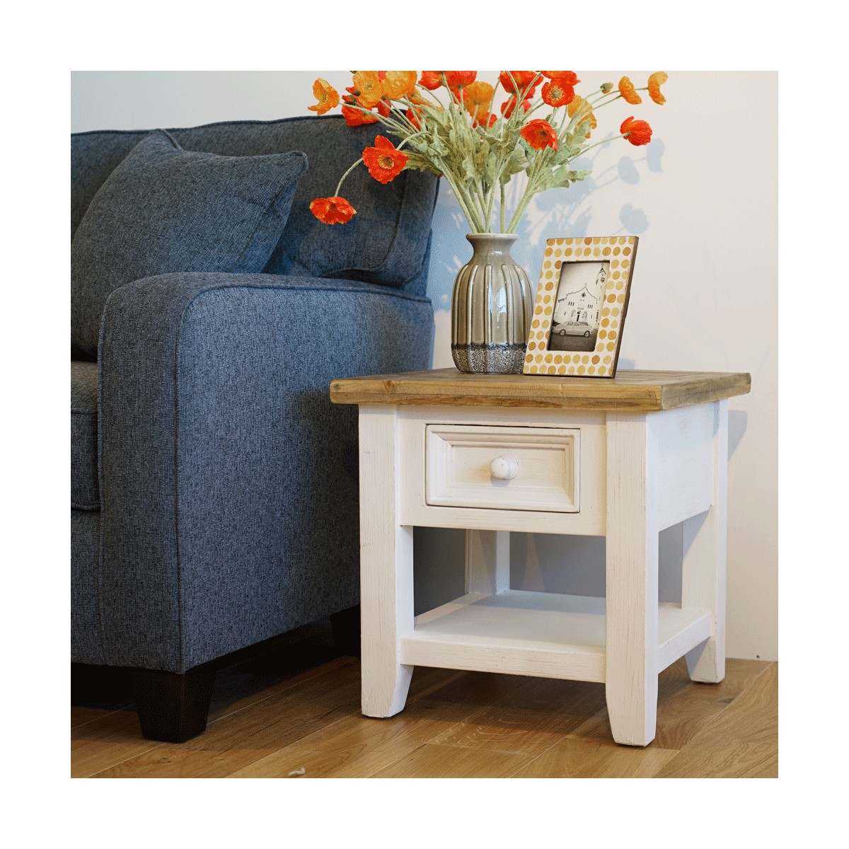 Table de chevet 1 Tiroir Bois Blanc 50x50x50cm