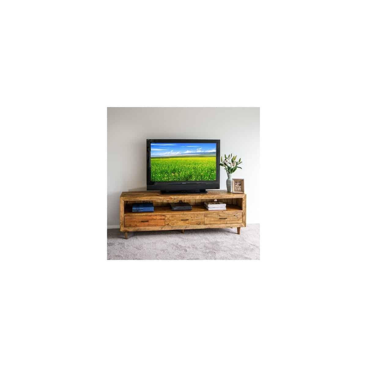 Meuble TV 3 Tiroirs Bois Marron 200x40x68cm