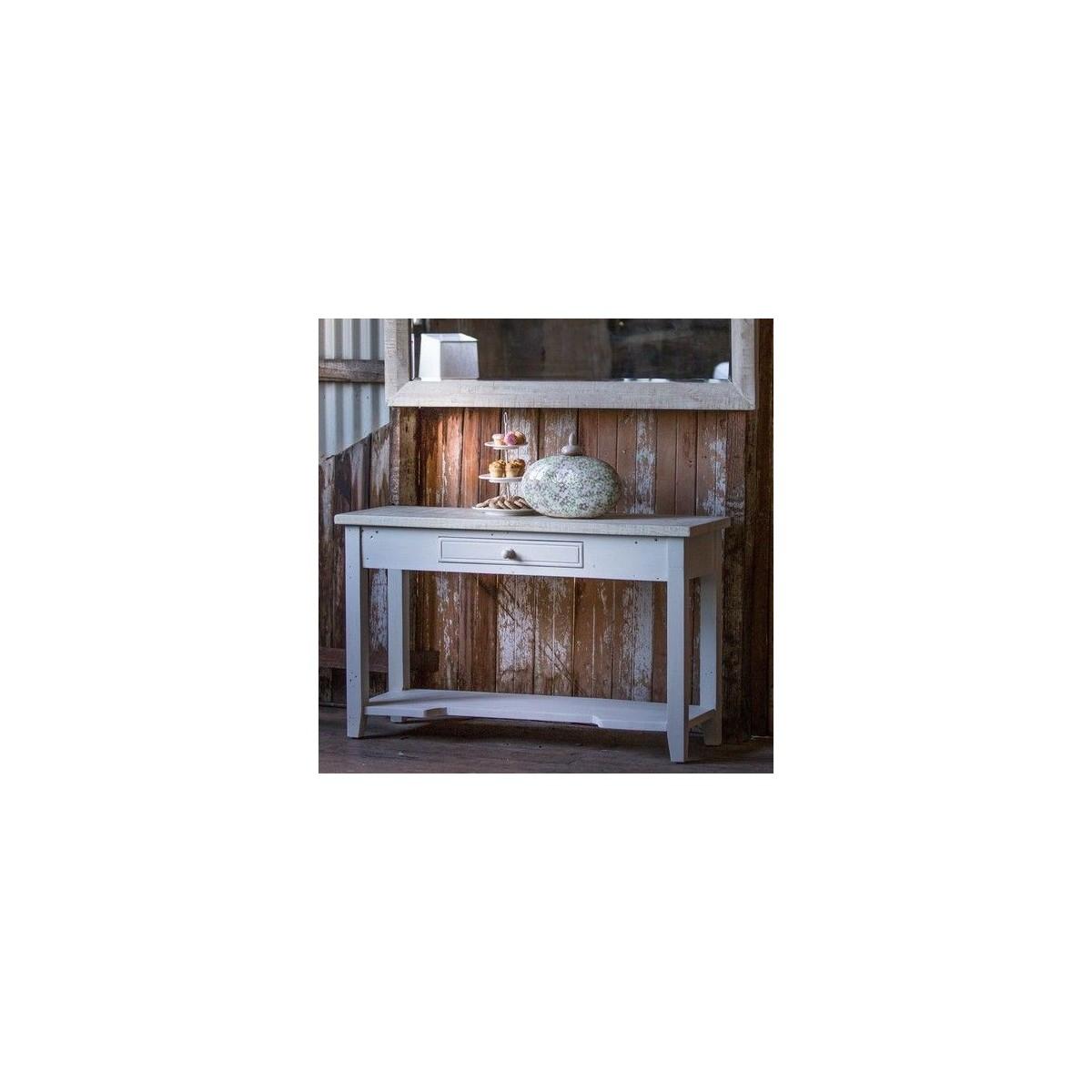 Console 1 Tiroir Bois Blanc 120x41.5x78cm