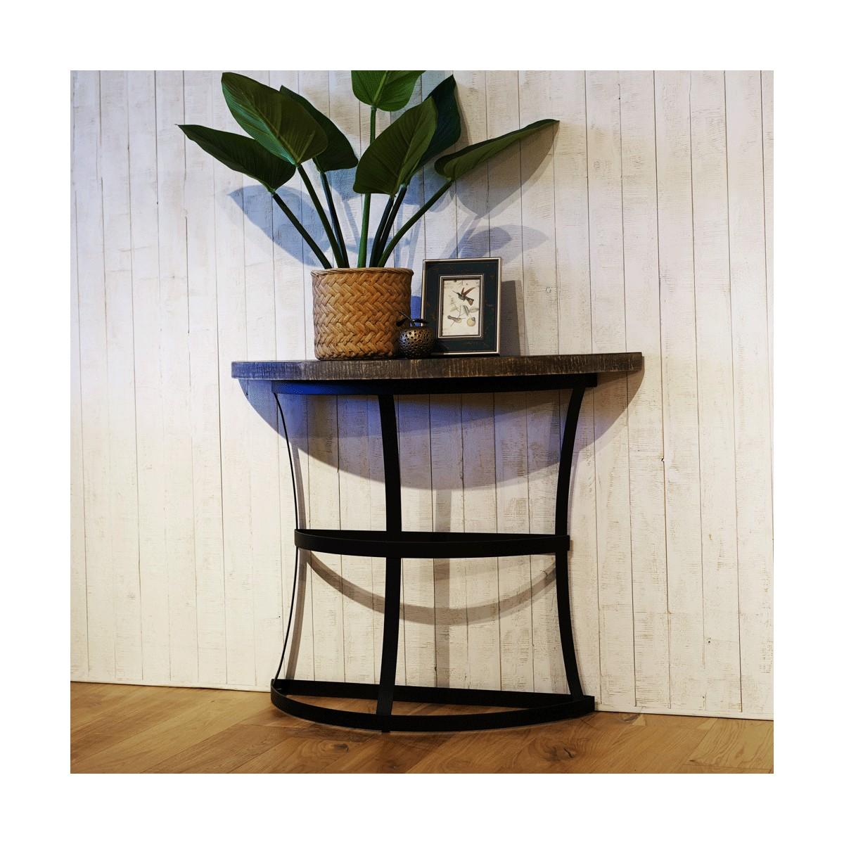 Table haute Bois Métal Marron 100x38x80cm