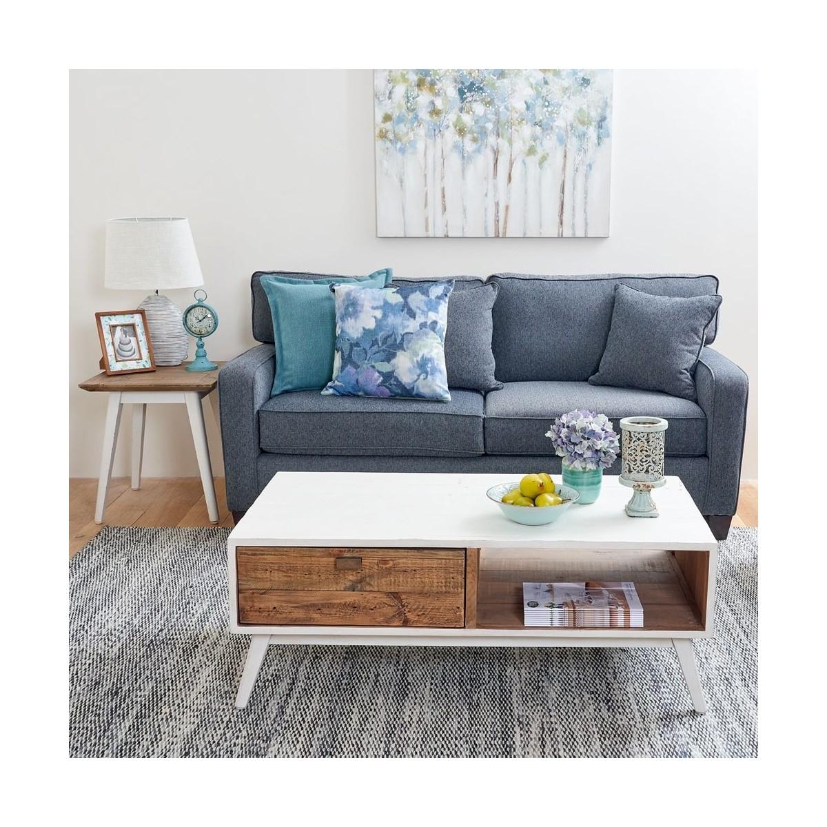 Table de chevet Bois Blanc 50x50x55cm