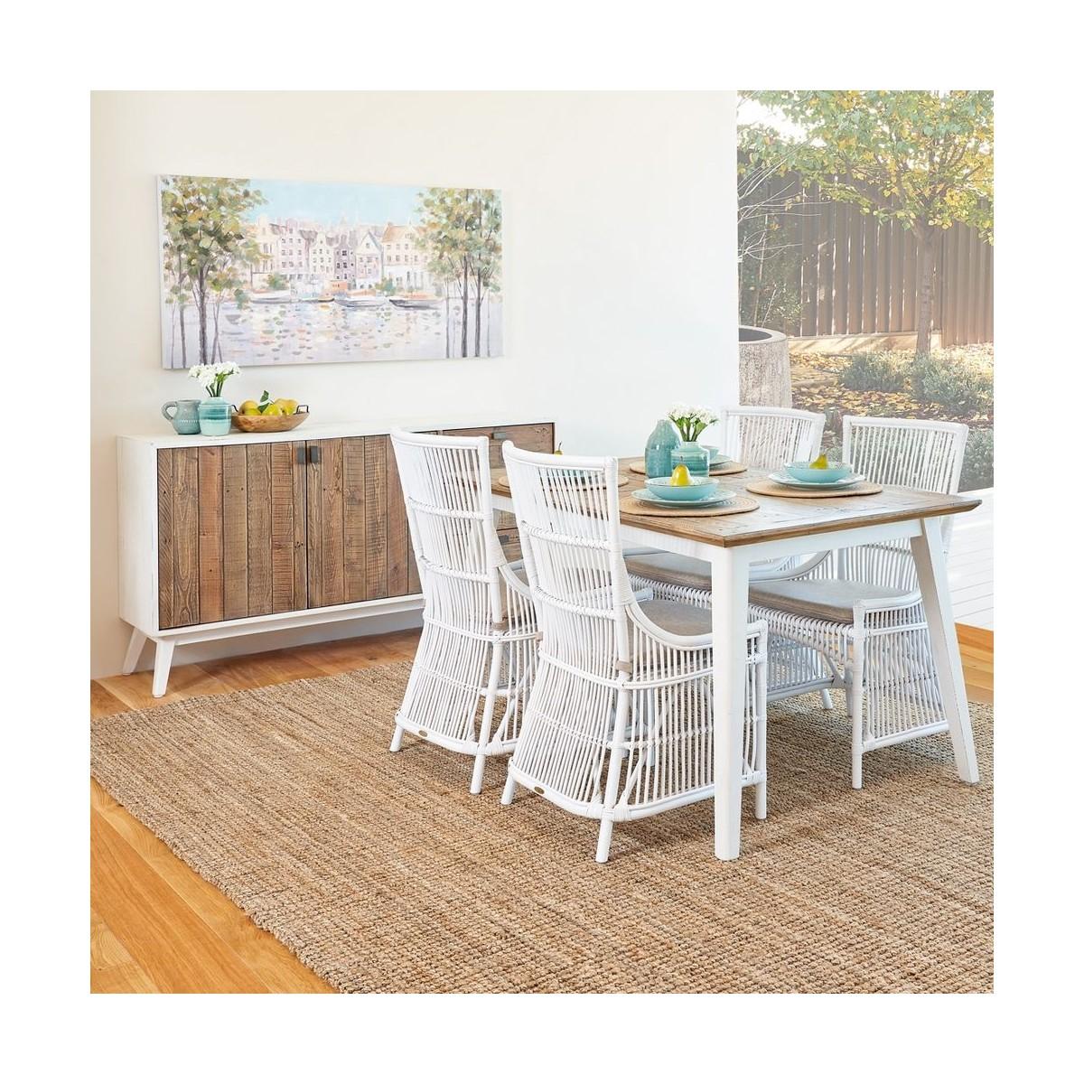Table à manger Bois Blanc 140x90x77cm