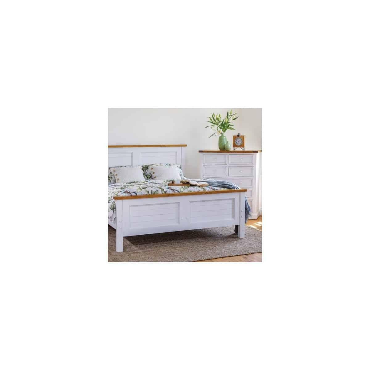 Commode 7 Tiroirs Bois Blanc 108x45x122cm