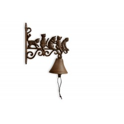 Cloche Chats Fonte Marron 20.5x9x27cm