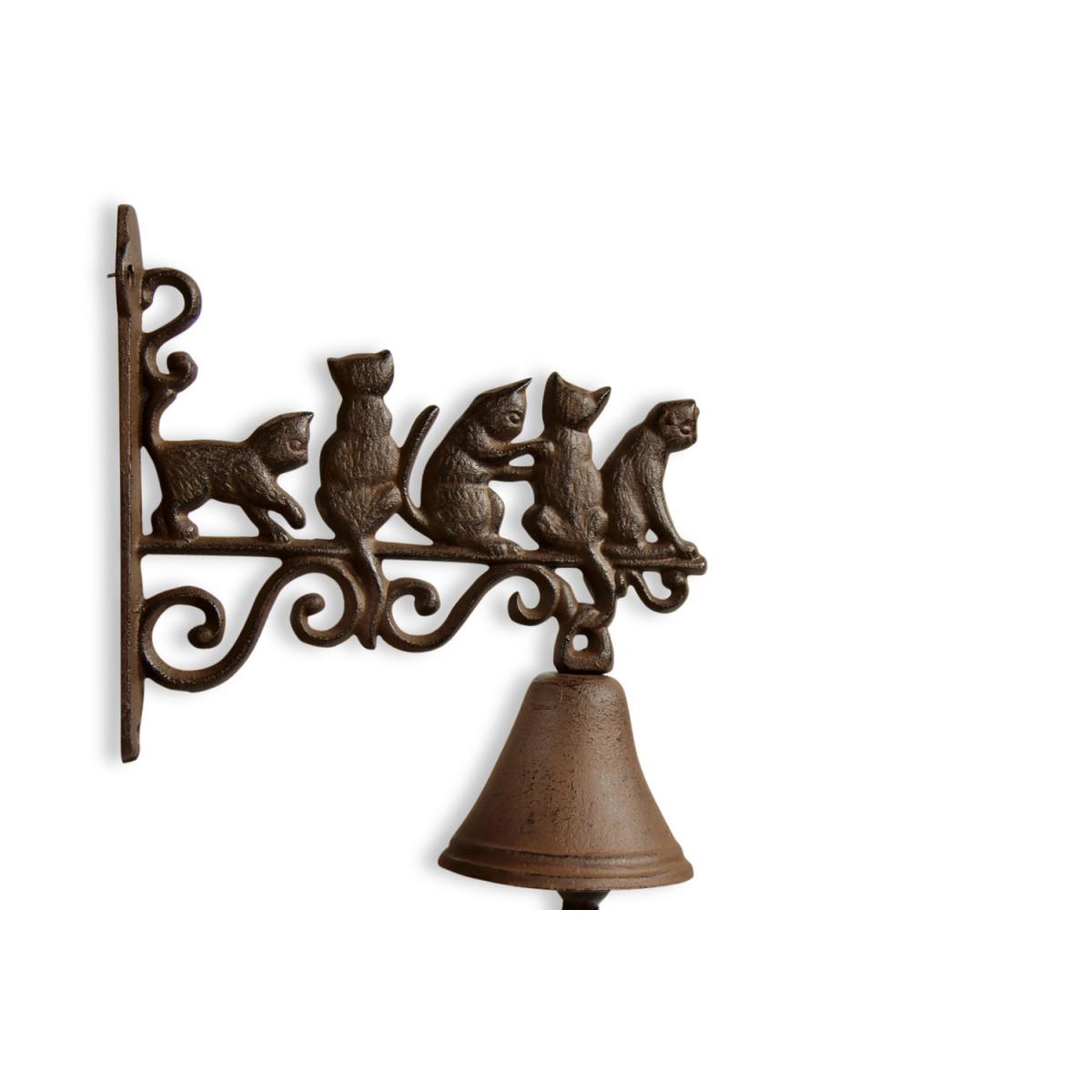 Cloche Chats Fonte Marron 20.5x9x27cm